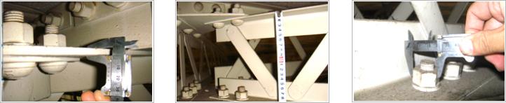 部材厚さ測定状況・部材寸法測定状況・ボルト径測定状況の写真