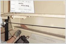 接合部の超音波探傷検査状況の写真
